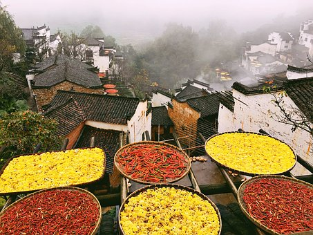 Huang Ling, Scenery, Sun Qiu, Roof, Old Town, Drying