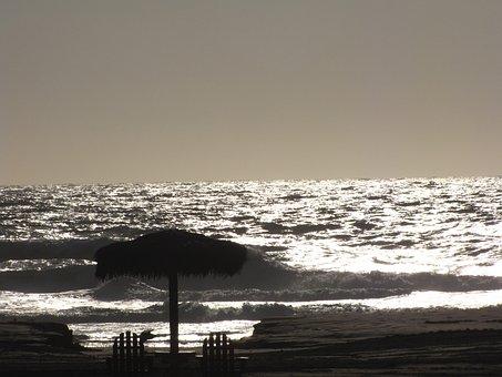 Ocean, Silver, Cabana, Scenery, Water, Beach, Shiny