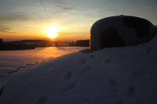 Sunset, Snow, Mountains, Bunker