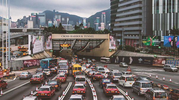 Hong Kong, Street View, Central, Traffic, Crowded