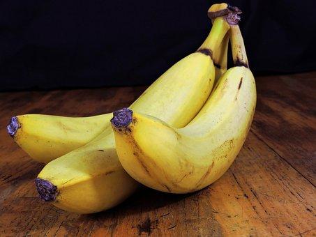 Banana, Fruit, Food, Table, Three, Foods, Eat