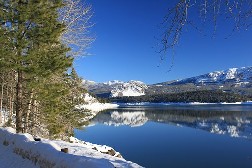Winter, Wonderland, Snow, Sky, Lake, Clear, Mirror