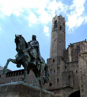 Monument, Horse, Knight, Campanile, Barcelona, Spain