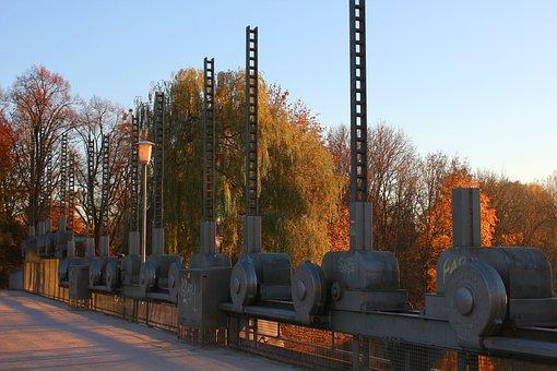 Munich, Stauwehr, Oberföhring, Bridge, Autumn