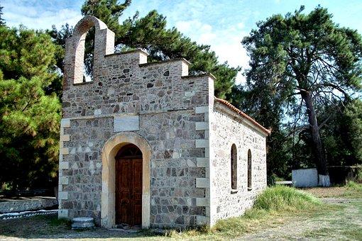 Chapel, Lesbos, Greece, Pine, Sky, Island