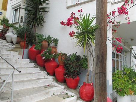 Streets, Stairs, Vase, Plant, Flowers, Lesbos