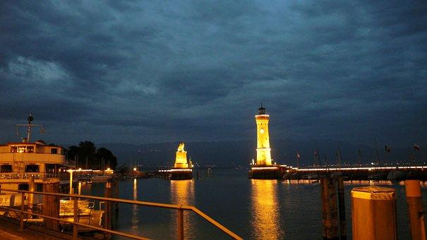 Lindau, Port, Lighthouse, Night, Illuminated, Idyllic