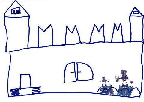 Castle, Children Drawing, Knight's Castle, Tower, Wall