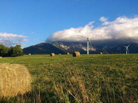 Landscape, Mill, Mountains