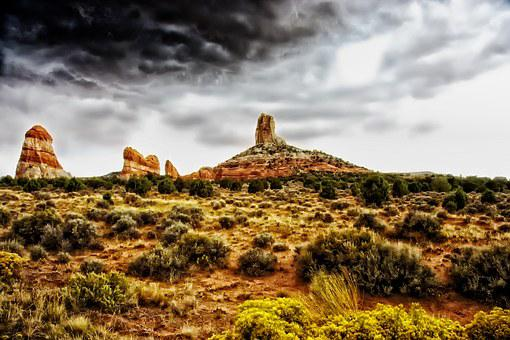 Arizona, Landscape, Scenic, Buttes, Formations, Sky