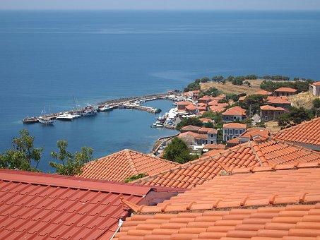 View, Port, Ships, Greece, Lesbos, Molivos, City
