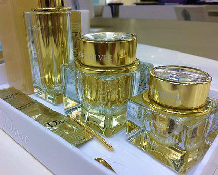 Skin Care, Cosmetics, Bottle, Facial Lotion, Golden
