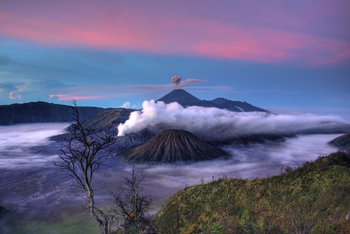 Volcano, Earth, Clouds, Sky, Mountain, Landscape