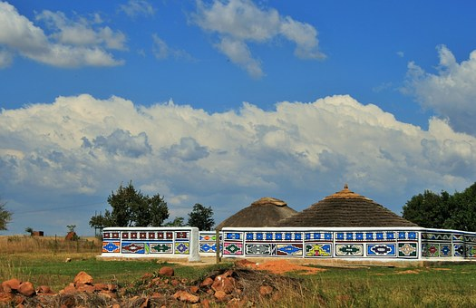 Venda Village, Kraal, Village, Wall, Decorated