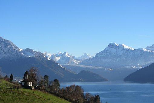 Mountain Panorama, Hike, Winter, Weggis, Alpine