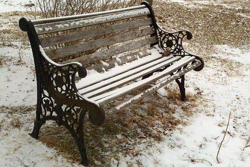 Bench, Park, Snow, Winter, Cast Iron, Wood, Seat, Cold