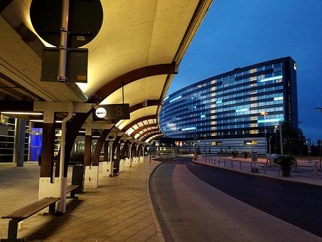 Stockholm, Sweden, Airport, Bus Terminal, Bus Stop