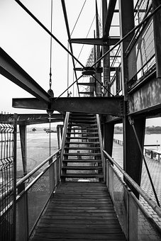 Stairs, Steps, Urban, Montreal, Black And White
