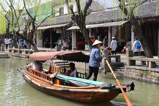 Zhouzhuang, Ship, Boatman, The Scenery, Tourism