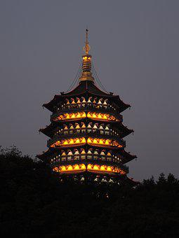 Leifeng Pagoda, Magnificent, Late, Lights