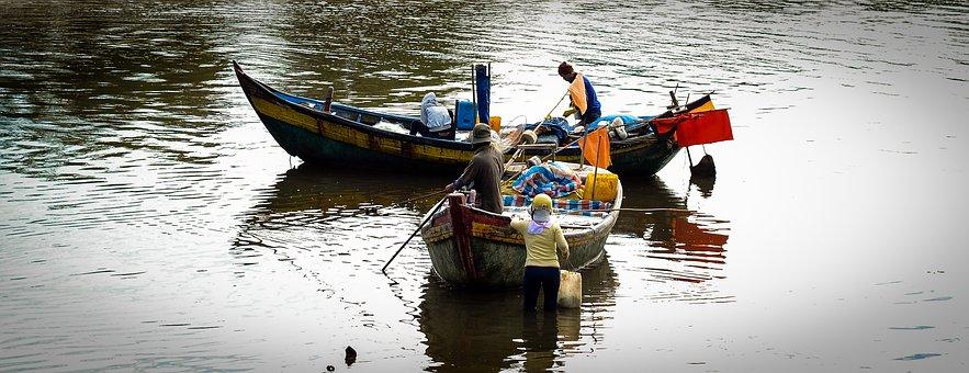 Life, The Sea, Vietnam, River, Boats, Those