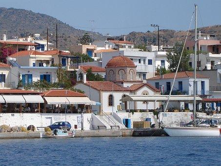Church, Port Of Perdika, Aegina Island, Greece