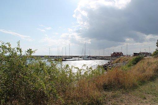 Port, Marup, Samsø, Clouds, Sun
