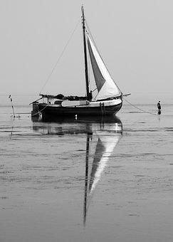 Old Boat, Sea, Refelection, Black White, Calm