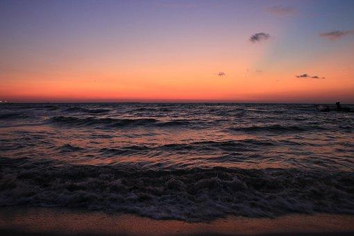 Beach, Before, Blue, Morning, Reflection, Sea, Sunrise