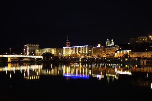 City, Night, River, Lights, At Night, City Lights