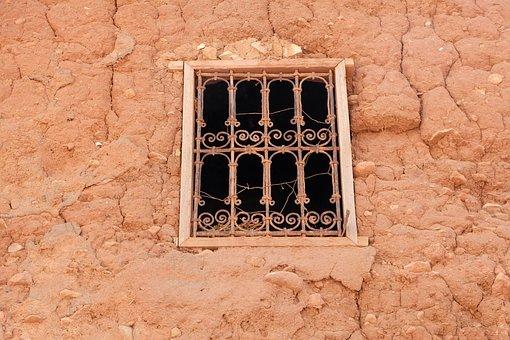 Window, House, Clay, Desert, Azgour, Reg, Morocco