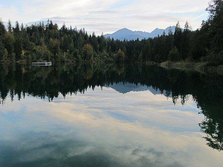 Lake Cresta, Abendstimmung, Lake, Trees, Firs, Nature