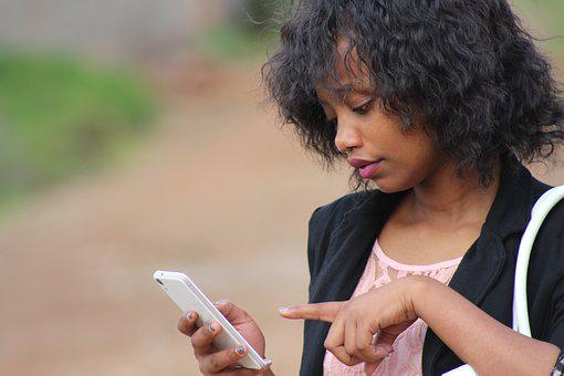 Phone, Female, Lady, Black, African, Woman, Young