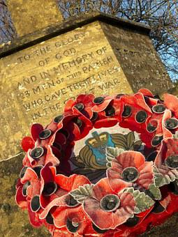 Memorial, War, Wreath, Poppy, Dorset, Uk, England