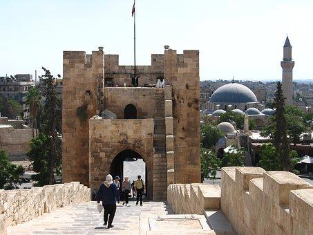 Syria, Aleppo, Citadel, Entrance, Tower