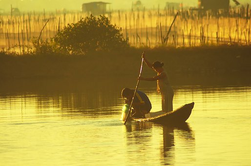 Lagoon, Fish, Fishermen, Fishing Boat, Asia, Chinese