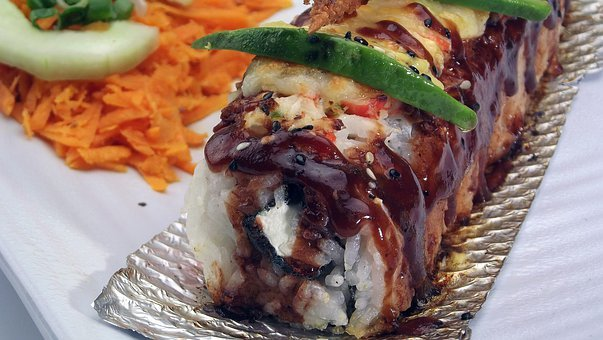 Baked, Salmon, Sushi, Food, Plate, Meal, Cuisine