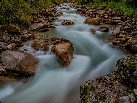 Krimml Waterfalls, Long Exposure, Stones, Water, River