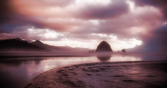 Oregon, Cannon Beach, Sea, Ocean, Bay, Water