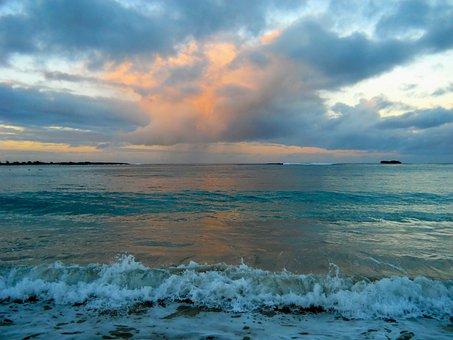 Ocean, Sunset, Waves, Hawaii, Beach, Surf, Vacation