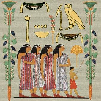 Egyptian, Paper, Women, Child, Owl, Dress, Design