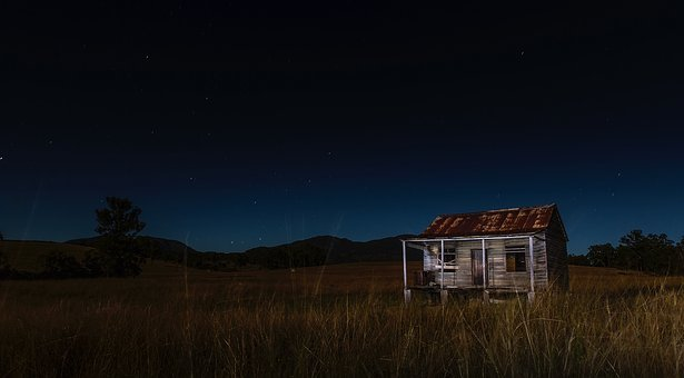 Night, Evening, Cabin, Shack, House, Home, Abandoned