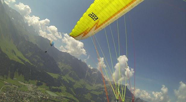 Paragliding, Flying, Summer, Mountains, Freedom