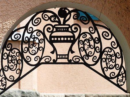 Iron Railings, Grid, Door, Forged, Goal, Input, Vase