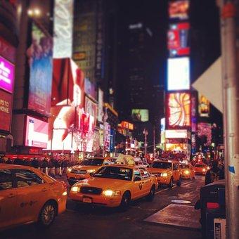 City, New York, Night, Nit, Car, Light
