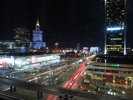 Warsaw, Night, Transport, Poland, Traffic, Smart City