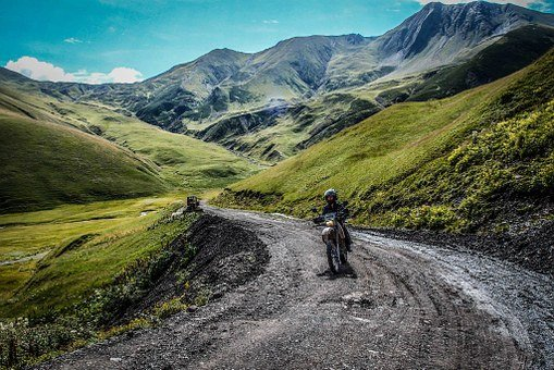Motorcycle, Mountain Road, Landscape, Travel, Way