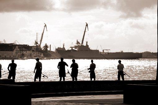 Cuba, Havana, Sea, Water, Angler, Fish, Fischer, Human
