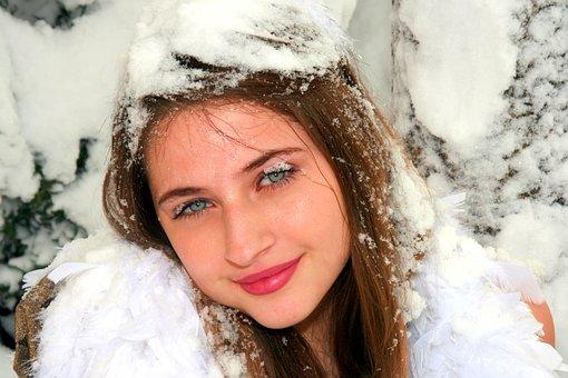 Girl, Snow, Winter, Princess, Blue Eyes, Blonde