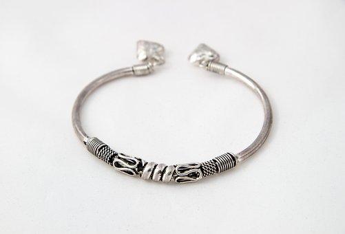 Bracelet, Metal, Silver, Pattern, Metal Bracelet, Snake